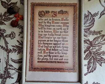 Vintage Wall Decor / Our Father / Prayer / Religious Print / Wall Art / Calligraphy / Vintage Religious Wall Hanging /