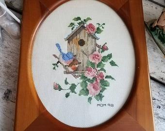 Vintage Textile / Vintage Spring Decor / Cross Stitch / Cottage Wall Decor / Easter Decor / Mother's Day Gift / Vintage Needlework / Bird