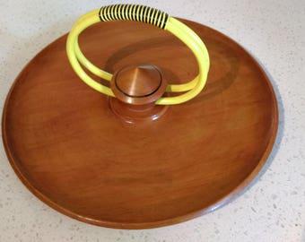 Vintage Wooden Platter or Fruit Bowl ~ 1960s Retro