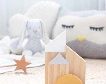 Scandi Shelfie Set -  wooden decor/ timber/nursery/baby shower/baby girl/timber decor/childrens decor/pastels/baby boy/scandi/ wooden blocks