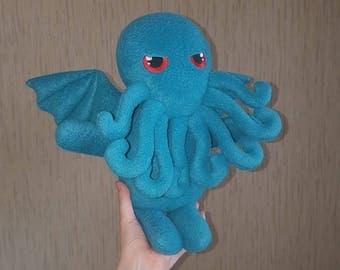 The Call Of Cthulhu blue/dark blue fleece toy 8 tentacles. Cthulhu fleece toy. lovecraft