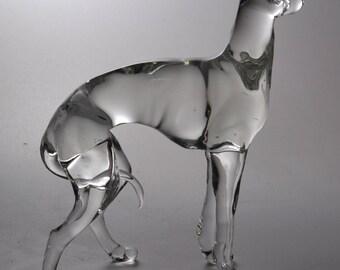 Big hand made lampwork borosilicate glass figurine - Italian Greyhound