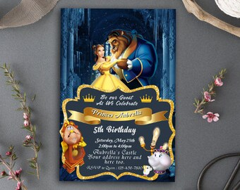 Beauty and the Beast Invitations/Beauty and the Beast Birthday Invitations/Beauty and the Beast Birthday/Beauty and the Beast Invitation