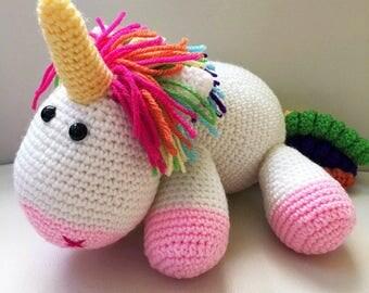 rochet Unicorn/Amigurumi Unicorn/Stuffed Unicorn/Rainbow Unicorn/White Unicorn/Unicorn Toy/Fluffy Unicorn/Unicorn Plush. **Made to Order**