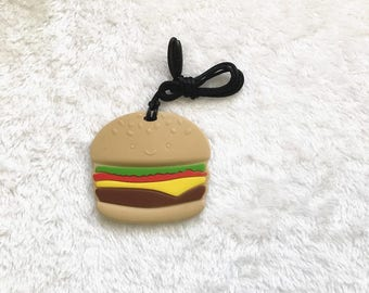 silicone teether hamburger shape BPA FREE teething DIY finding accessory