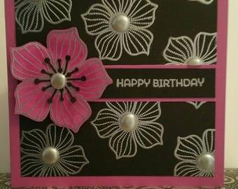 Happy birthday silver heat embossed greeting card