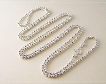 Ball chain very long necklace in Silver 925/1000th 90 cm