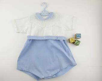 Homemade For Baby - Blue/white With Pleated Bib/Yoke Detail - Size 9-12 Mos. - Peter Pan Collar - Snap Crotch - Photoshoot Ready - Dress Up