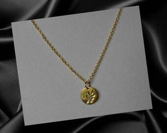 Disc Necklace,Gold Disc Necklace,Cut Out Leaf Disc Necklace Gold,Tiny Gold Vermeil Disc Pendant Necklace