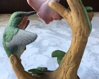Humming Bird Figurine feeding at Hibiscus Andrea by Sadek 6059 Japan