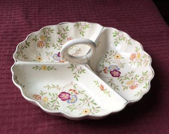 Vintage Divided Appetizer Relish Tray Hand Painted Floral with handle Japan