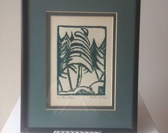 Canadian Artist Lucille Gilling Linocut signed. 1940's
