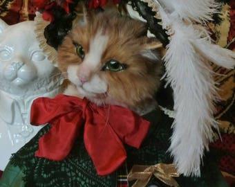 "Victorian Dressed Cat ""Isolda""  Anthropomorphic Art Animal OOAK Soft Sculpture in Historical Costume"