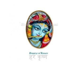 Ring * Krishna * blue India bronze Radha glass