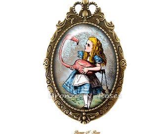 PIN of Alice and Flamingo cabochon bronze retro to the Wonderland