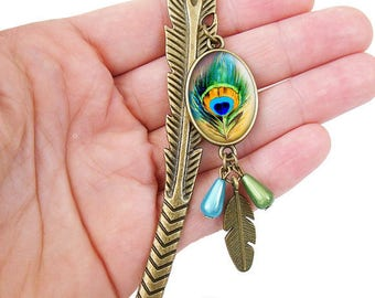"Bookmark ""Peacock feather"" blue green and bronze cabochon jewelry cameos"