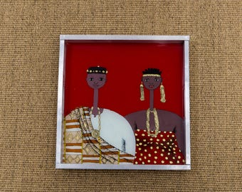 Tray couple red Akan