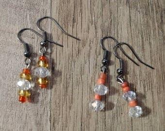 Set of 2 orange and crystal glass bead dangle earrings, orangle dangle earrings