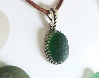 Forest Green Seaglass Sterling Silver Necklace