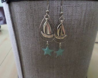 Earrings silver metal SeaStar