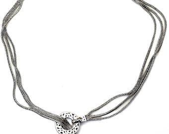 Sterling Silver Filigree Design Pendant Spiga Chain Lariat Necklace