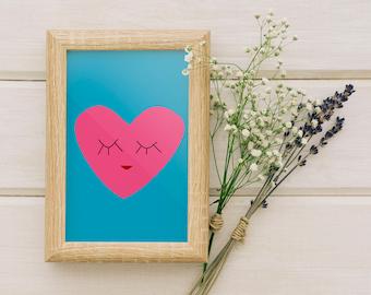 Nursery decor, Nursery art, Nursery wall art, Baby room decor, Baby shower gift, Art print, Wall art, Kids Gift Ideas - Cute blue Heart