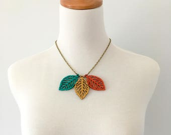 Wooden necklace, leaf necklace, hand painted necklace, bohemian necklace, nature necklace, colorful necklace, yellow red green necklace