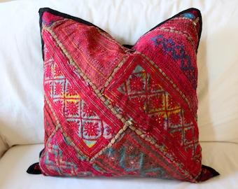 Large Vintage Indian Textile Pillowcase