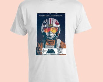 Star Wars. Vintage Poster T-Shirt. White 100% Cotton