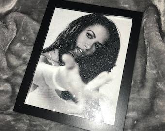Aaliyah diamond effect framed print. B&W vintage tone print