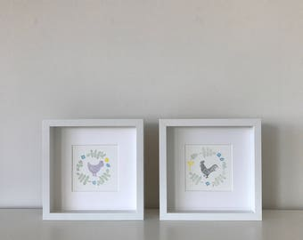 Hen and Rooster Vignette original hand stamped print – a set of 2 prints (13.5x13.5cm each)