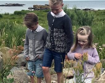 PDF knit pattern for kids, kids cardigan pattern, Nordic Fair Isle pattern, kids pdf pattern, DIY cardigan, Atlantic Puffin Cardigan