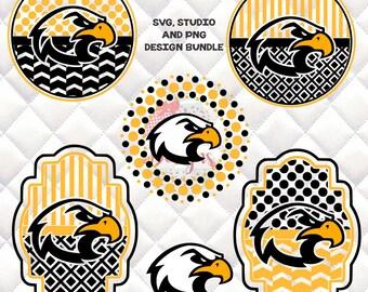 Hawks Mascot -  SVG, Silhouette studio bundle - 6 design downloads