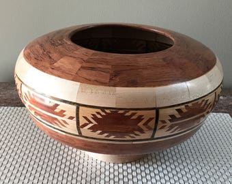 Segmented Wood Bowl (Indian Weave design w/Bobinga, ebony, maple)