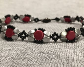 Red Black & Silver Honeycomb Bracelet