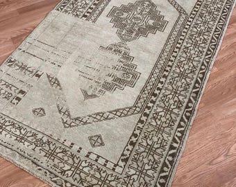 "3'.9"" x 6'.1"" ft, Turkish rug, oushak rug, vintage rug, Anatolian rug, handmade rug, organic rug, wool rug, free shipping!!!!"