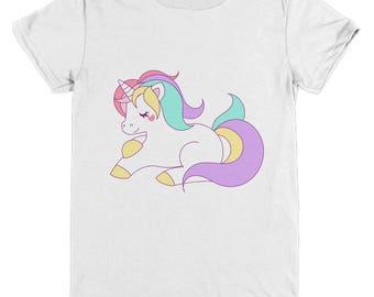 Unicorn Youth Tee Shirt Lovely Cartoon Unicorn Image Printed Front