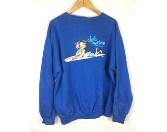 LOCAL MOTION Hawaii Large Size Unisex Sweatshirt Pull Over Surfing Design