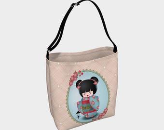 Amika - Tote bag - Kokeshi doll - Woman bag - Gift for woman - Gift - Asian - Fashion bag - Asian doll - Asian bag - Purse - Gift for her