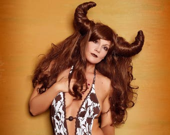 Big Curly brown wig with horns