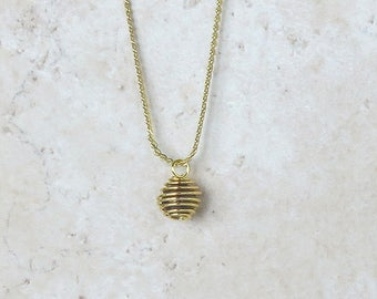 Crystal Spiral Gold Tone 13mm x 10mm Bead Cage Pendant with 6mm Gemstone