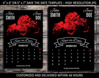 High Quality Print Ready Customized Save the Date - JPG Digital File - Printable,  Floral, Roses, Calendar, Wedding, Template, Announcement