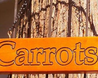Carved Carrots Wood Garden Sign