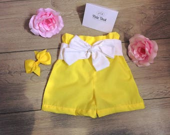 girls shorts, first birthday, high waisted, summer clothes, yellow shorts, baby girl, baby girl clothes