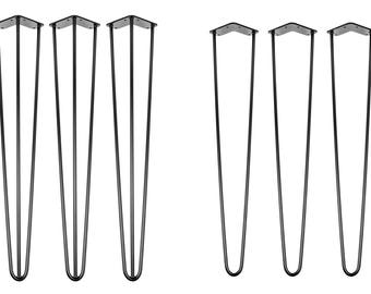 4 x 40cm (16 inch) Hairpin Legs - Desk / Dining Tables - Black