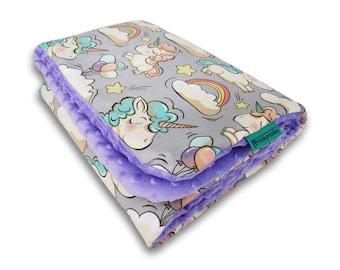 Cuddly baby blanket, Minky baby blanket, Soft blanket, Unicorns blanket, Baby girl blanket, Modern baby blanket