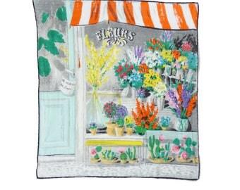 Hankie handkerchief flower shop plants fleur Swiss Vintage 1950s