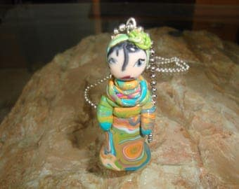 Pendant in polymer clay character