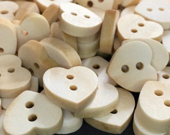 10 Small Heart Shaped Wooden Buttons, 12mm, Natural, Love, Romance, Wedding, Bridal, Valentines