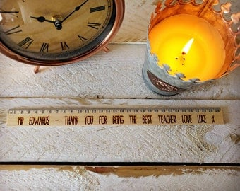 Personalised Wooden Teacher Ruler - Engraved Message